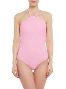 Kate Spade New York Marina piccola scalloped high neck swimsuit
