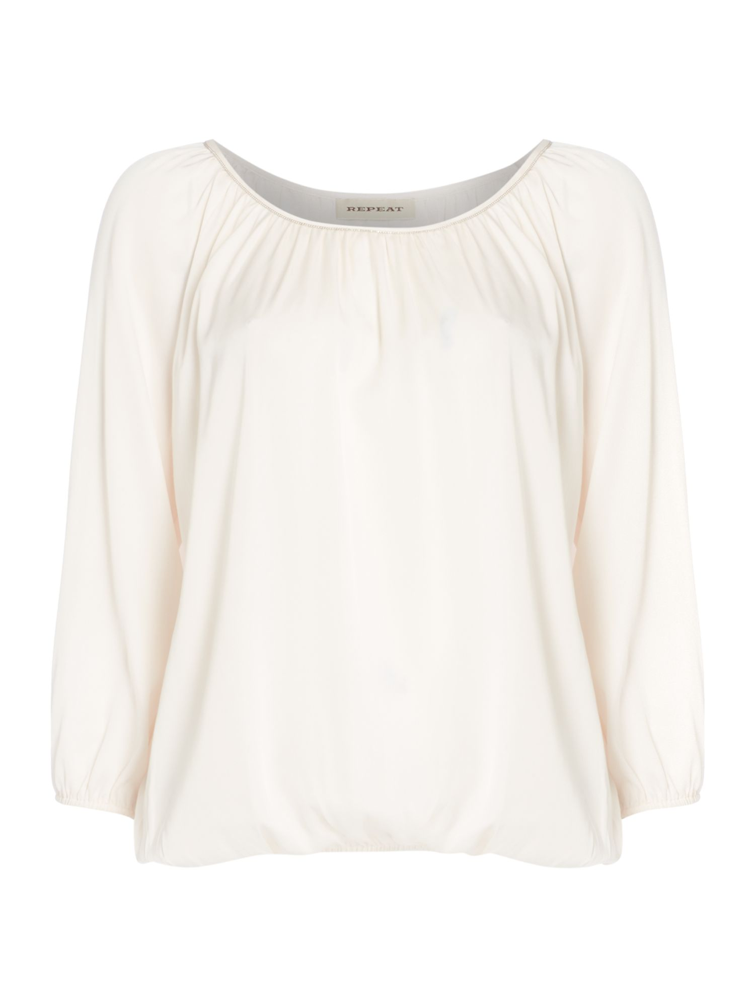Repeat Cashmere Beaded trim silk mix top, White