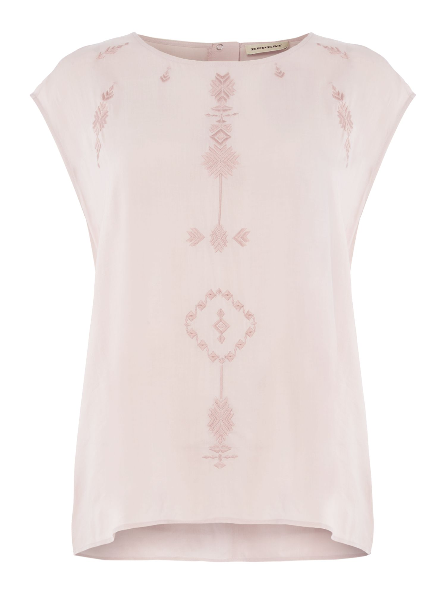 Repeat Cashmere Sleeveless top with embroidery, Pink