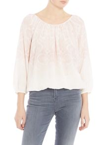 Repeat Cashmere Ombre printed long sleeve silk top