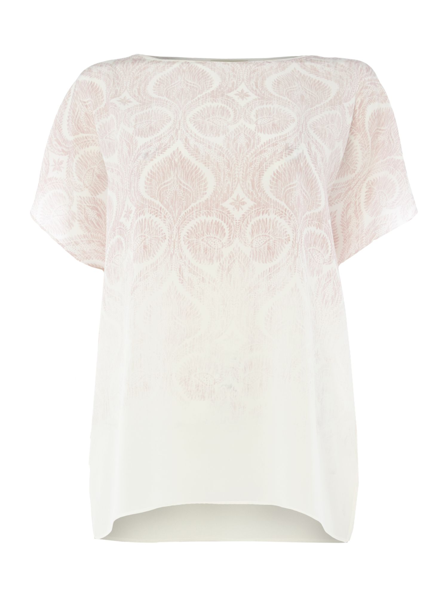 Repeat Cashmere Ombre printed short sleeve silk top, Light Pink