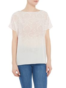 Repeat Cashmere Ombre printed short sleeve silk top