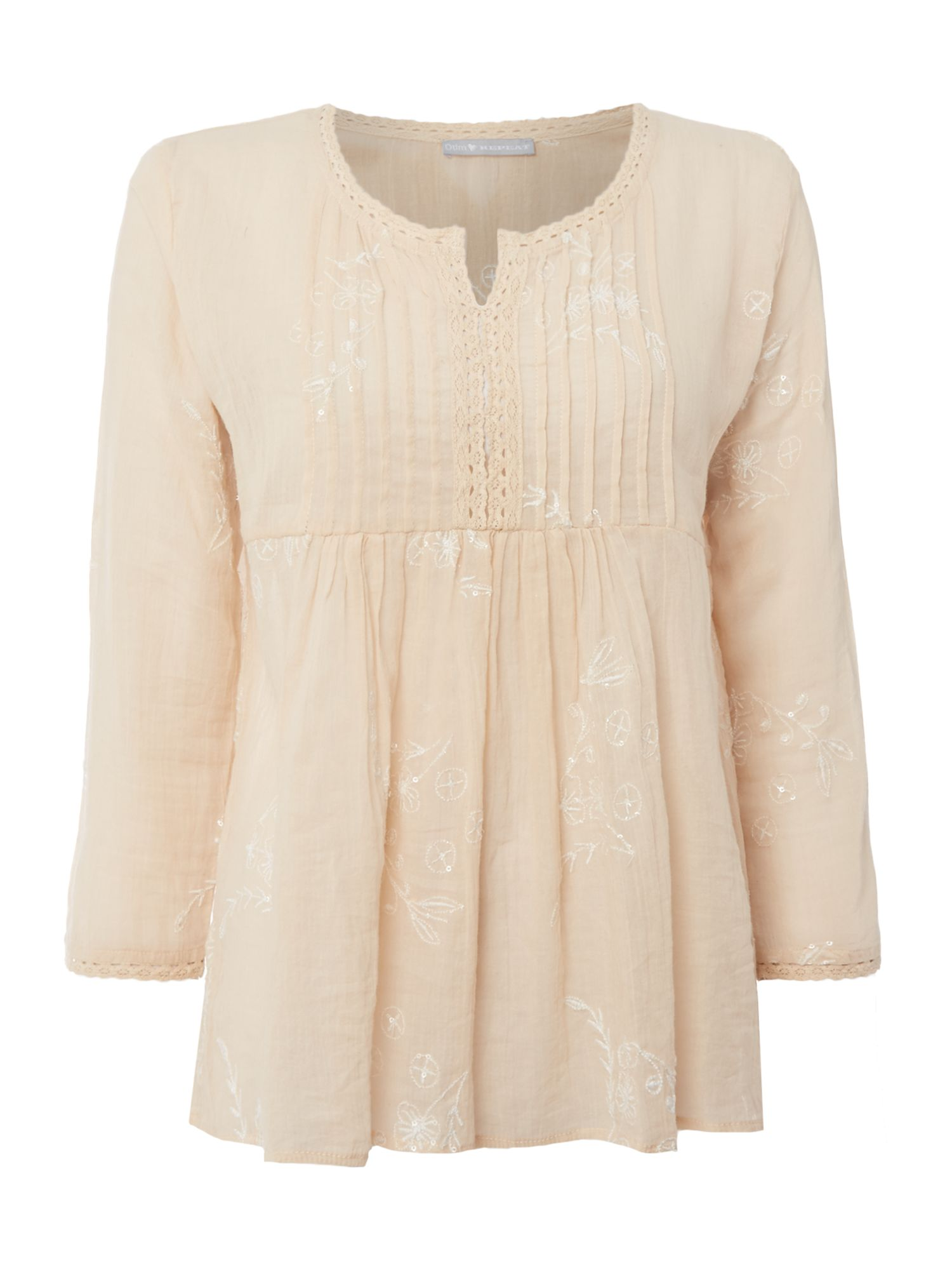 Repeat Cashmere Button up short sleeve embroidered top, Shell