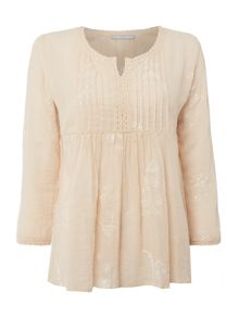 Repeat Cashmere Button up short sleeve embroidered top