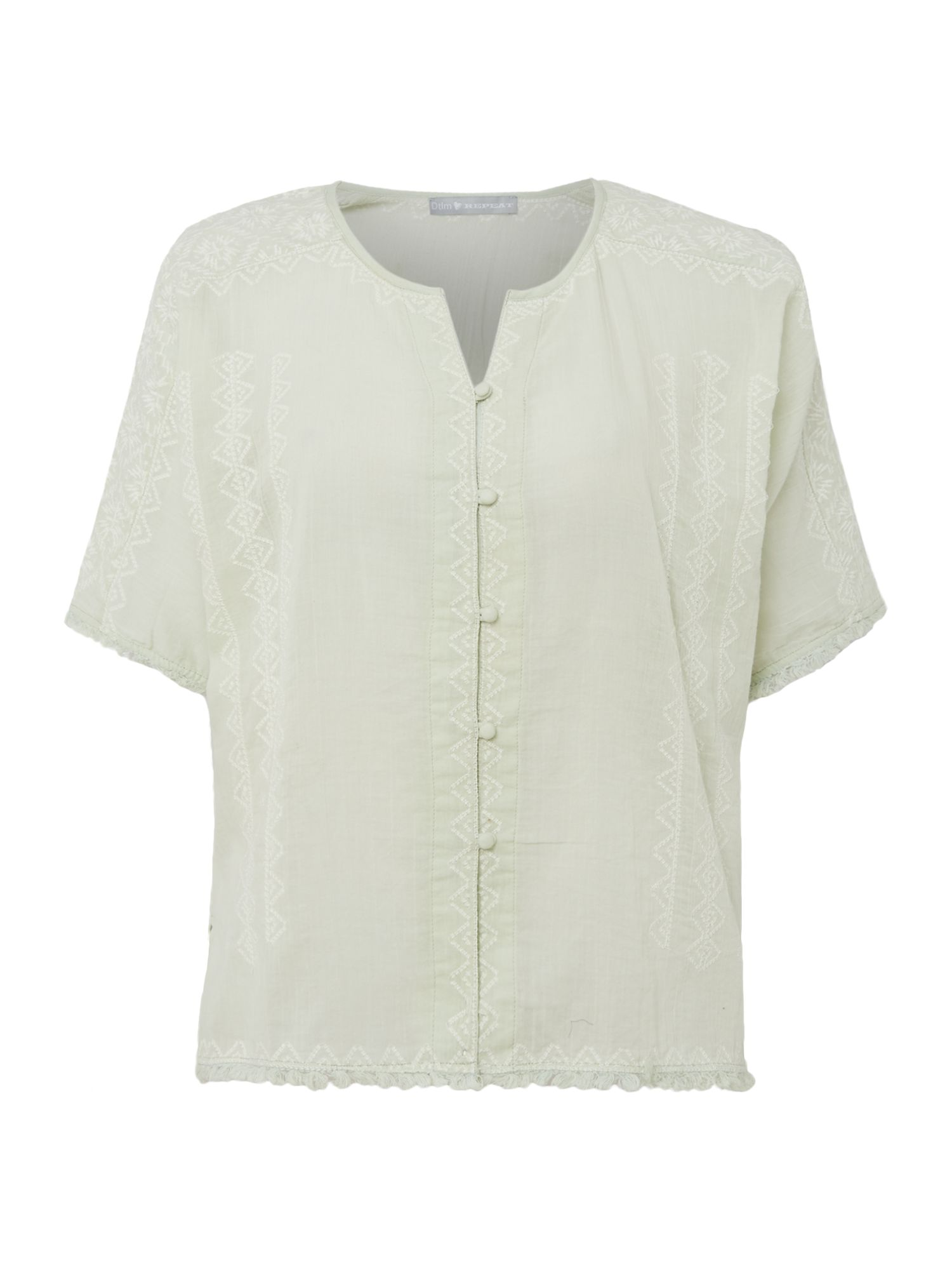 Repeat Cashmere Button up short sleeve embroidered top, Jade