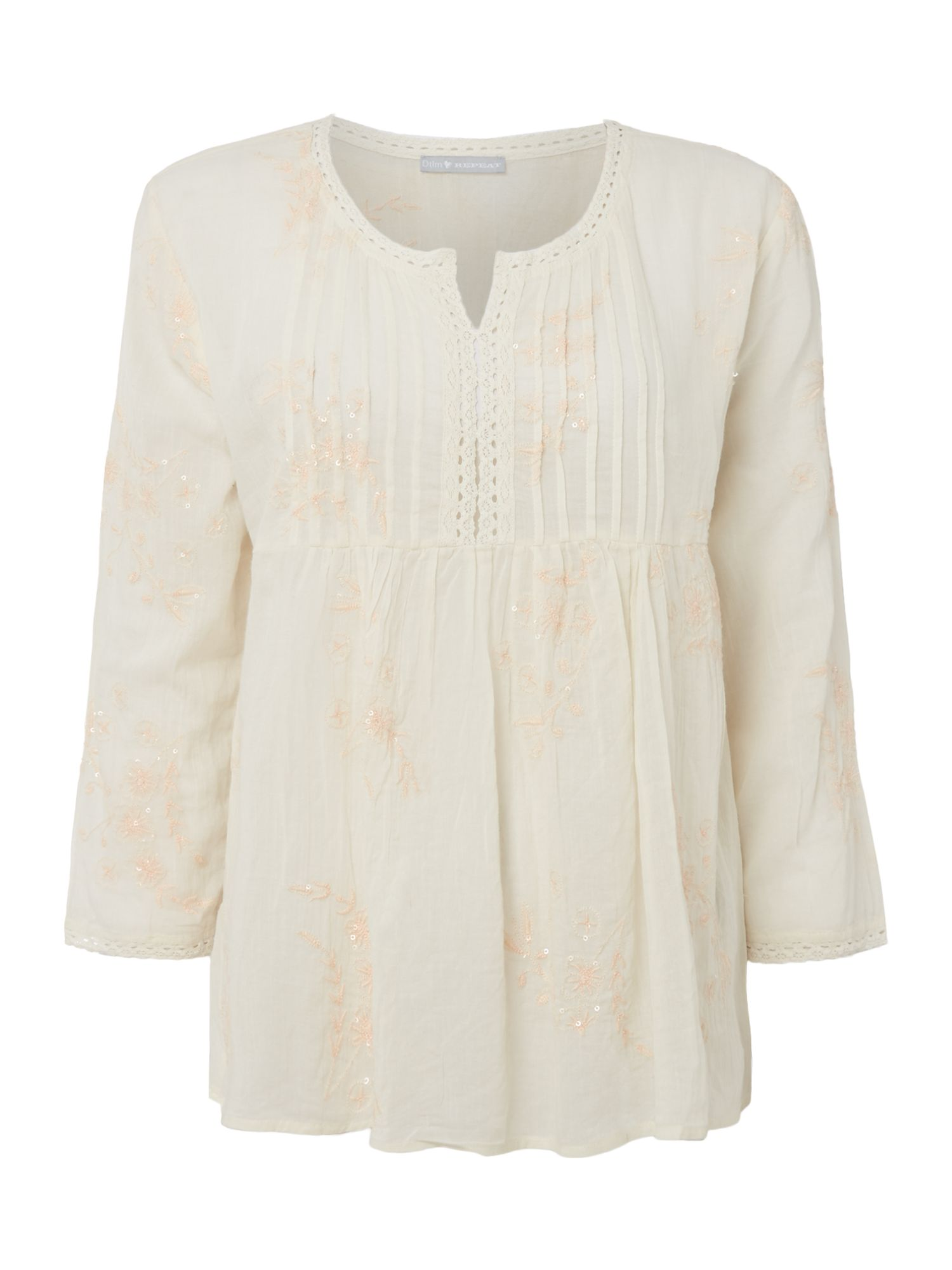 Repeat Cashmere Embroidery long sleeve top, Cream