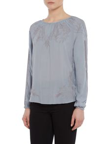 Repeat Cashmere Keyhole detail embroidery top