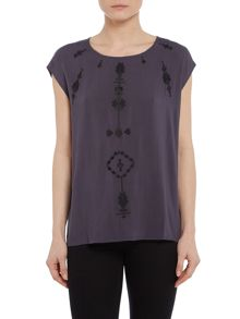 Repeat Cashmere Sleeveless top with embroidery