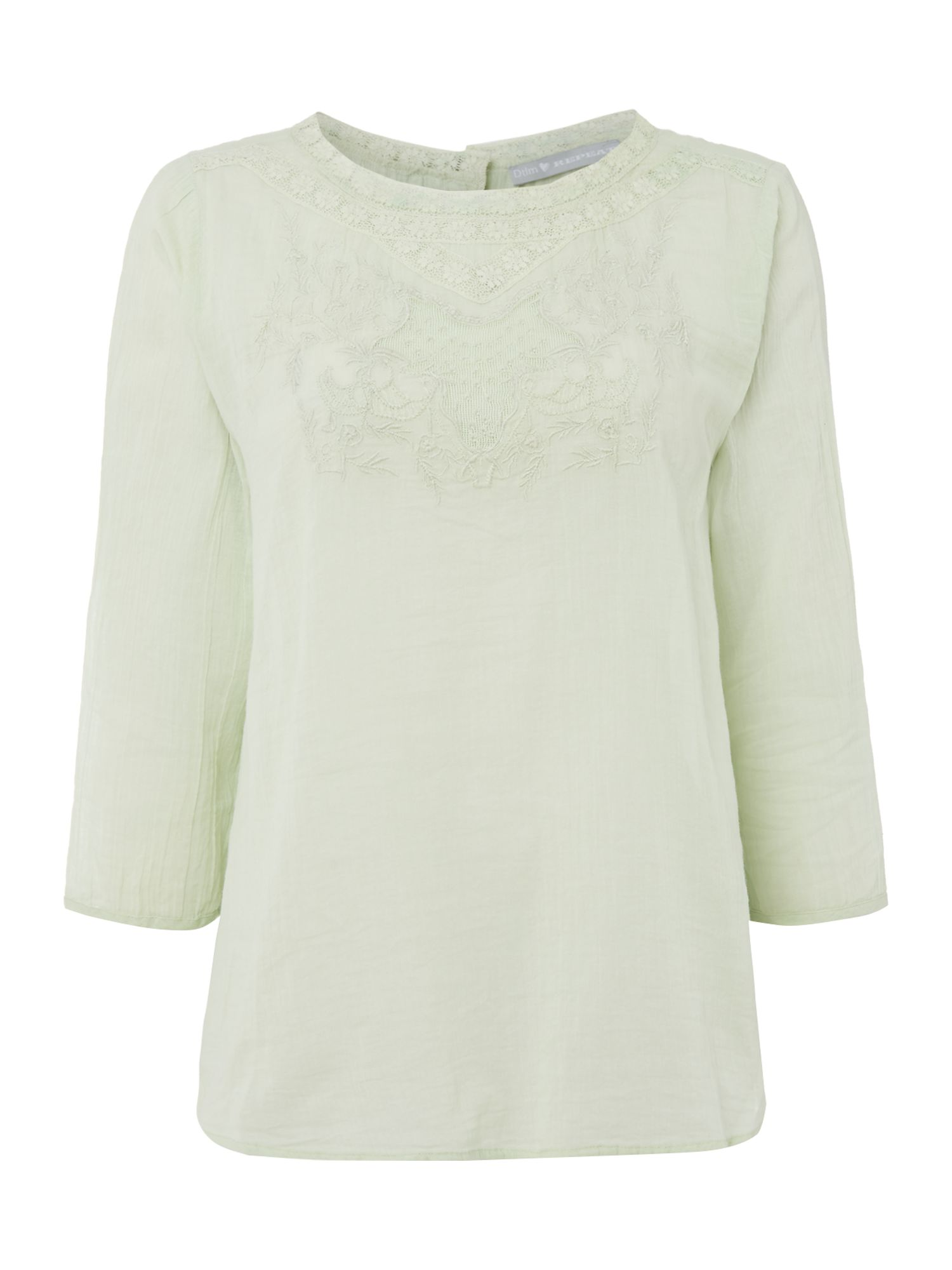 Repeat Cashmere Embroidered neck detail top, Jade