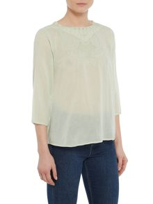 Repeat Cashmere Embroidered neck detail top