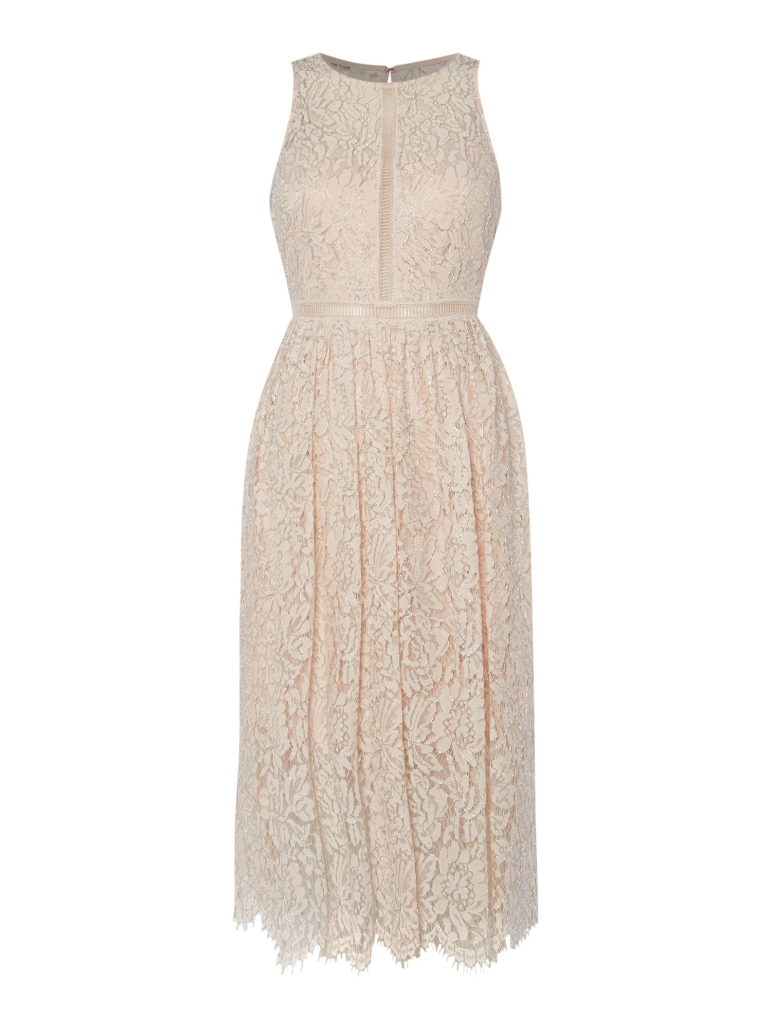 Adrianna Papell Lace dress with ladder detail, Pink