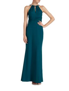 JS Collections Beaded neck choker gown