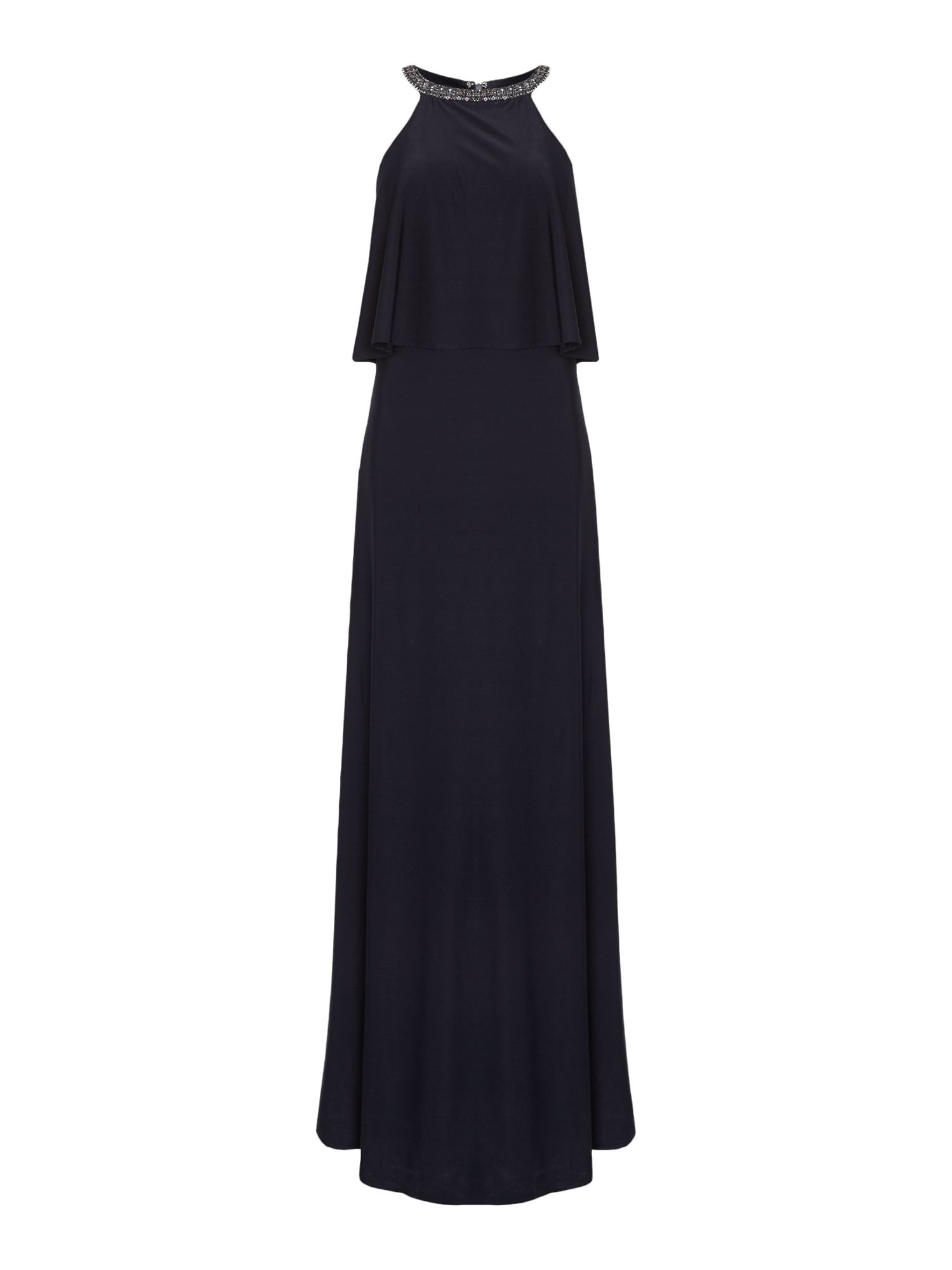 JS Collections Embellished layered jersey gown, Blue