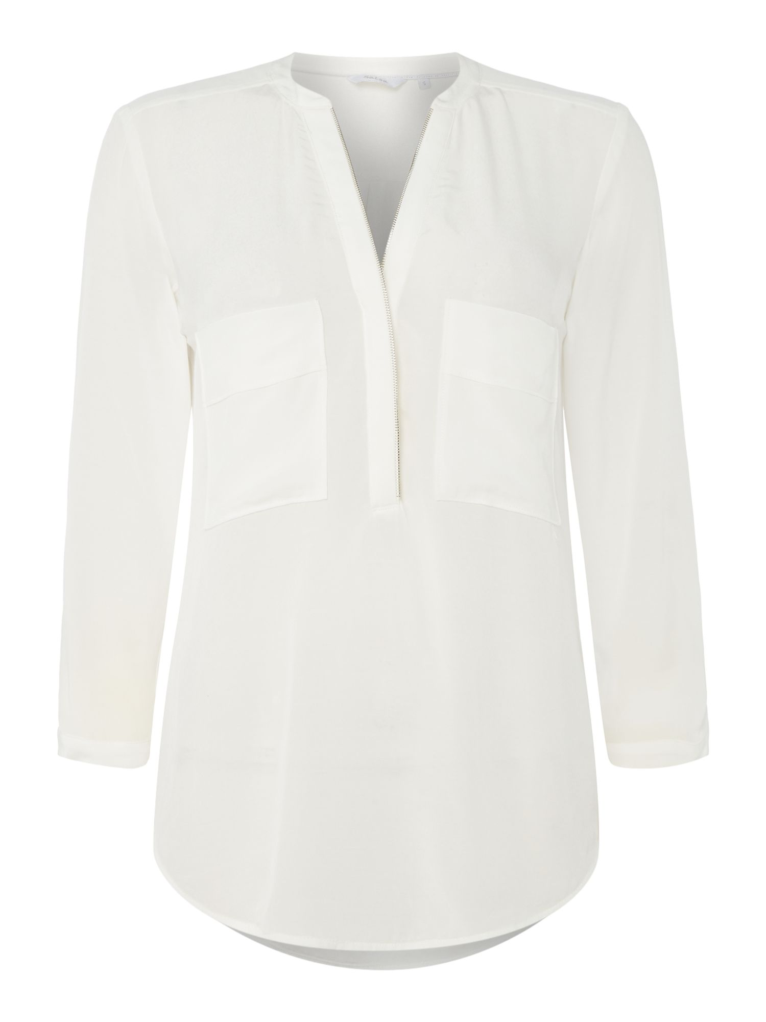 Salsa Front pocket detail long sleeve blouse in white, White