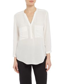 Salsa Front pocket detail long sleeve blouse in white