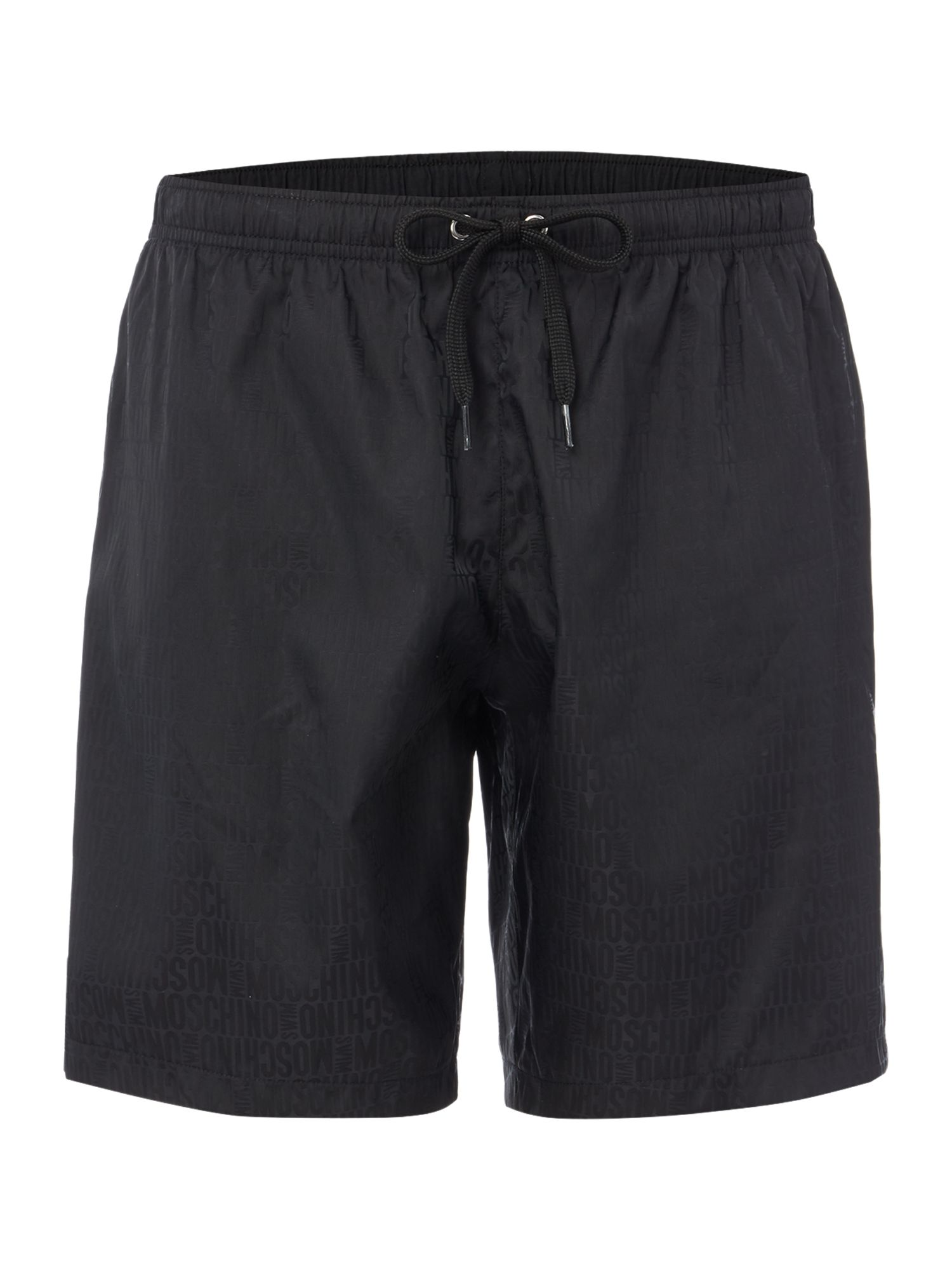 Men's Moschino Medium All Over Logo Swim Short, Black
