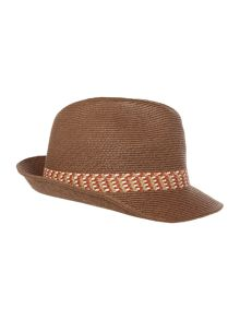 Ted Baker Contrast Band Straw Trilby Hat