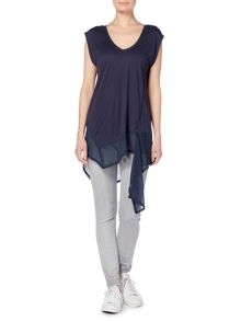 Label Lab Chiffon jersey mix vest