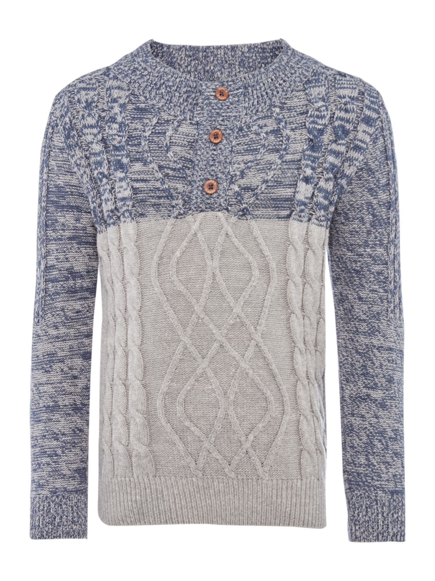 Name it name it Boys Funnel Neck Contrast Cable Knit Jumper, Navy