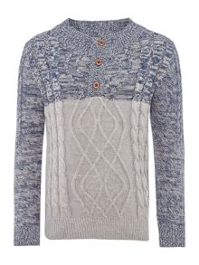 name it Boys Funnel Neck Contrast Cable Knit Jumper