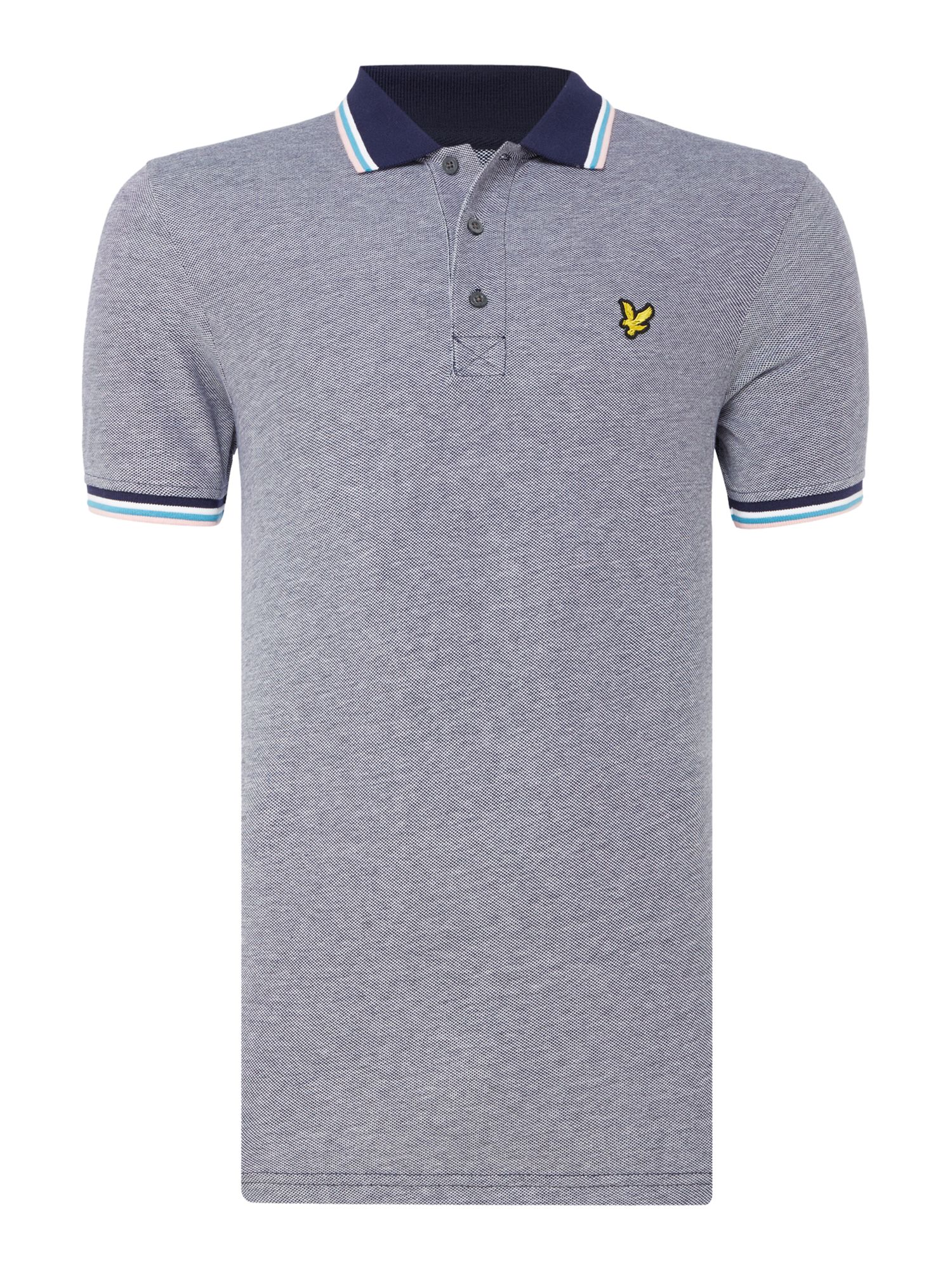 Men's Lyle and Scott Short sleeve tipped collar polo, Blue