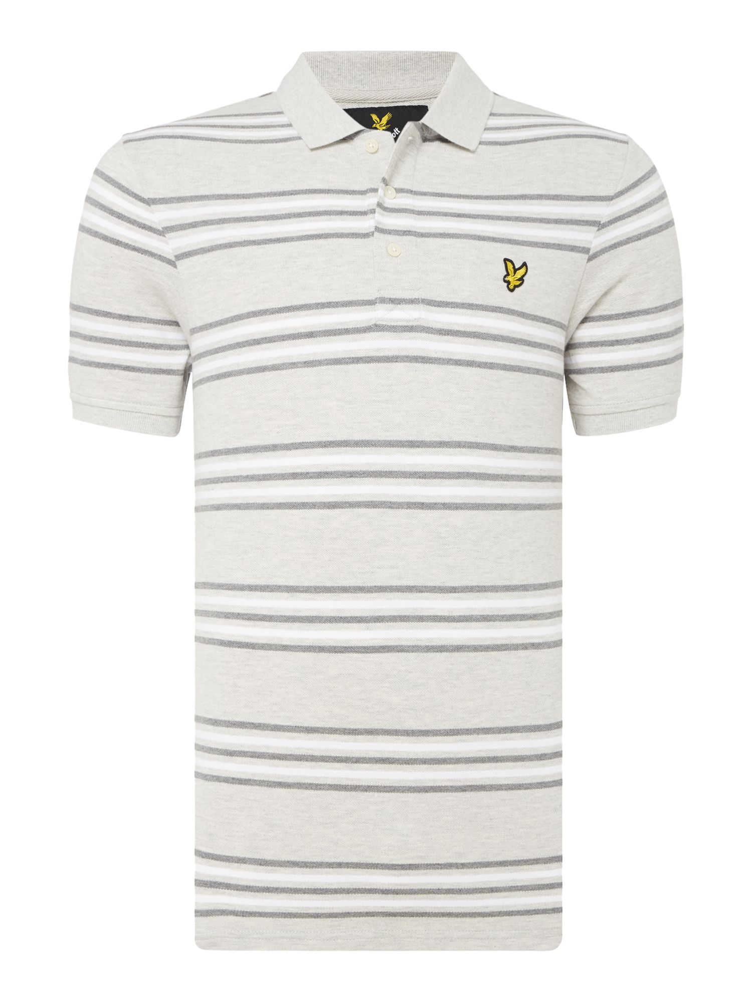 Men's Lyle and Scott Short sleeve striped polo, Light Grey Marl