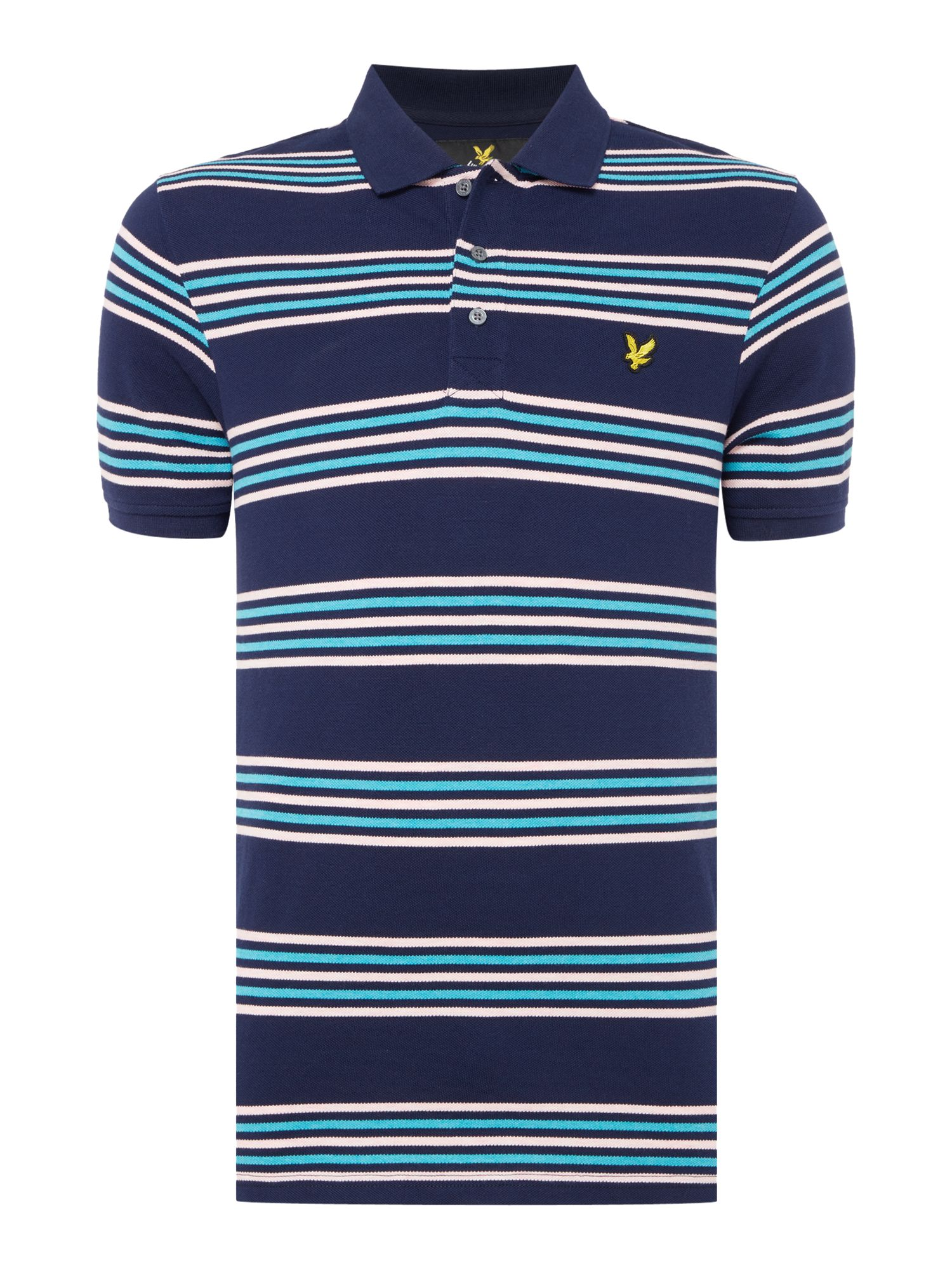 Men's Lyle and Scott Short sleeve striped polo, Blue