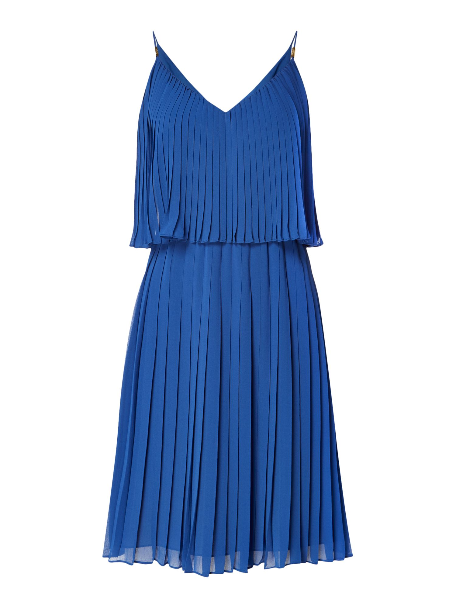 Biba Pleated layered knee length dress, Blue