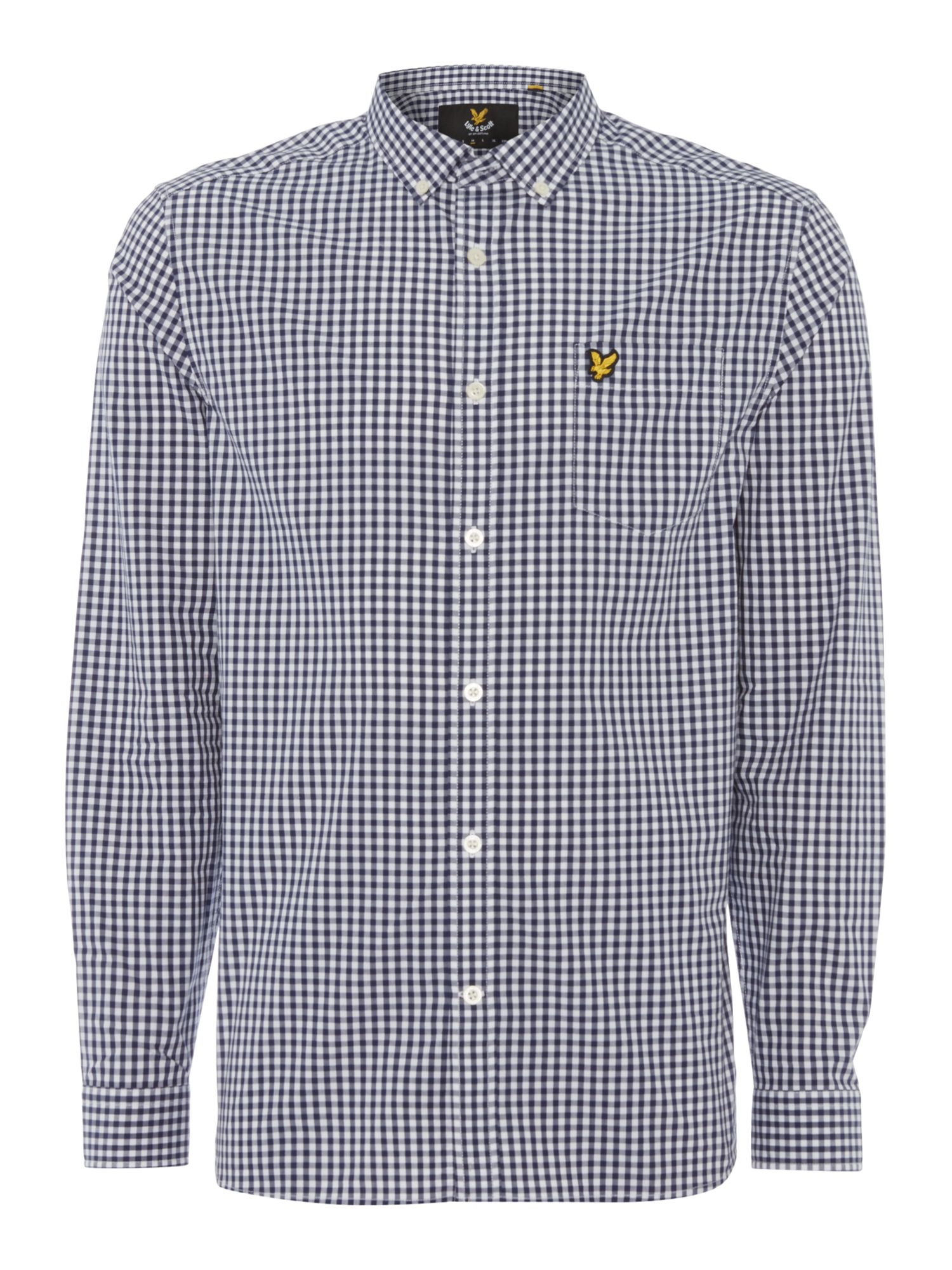 Lyle and Scott Men's Lyle and Scott Long sleeve gingham check shirt, Navy