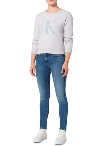 Calvin Klein Crew neck jersey top in white heather