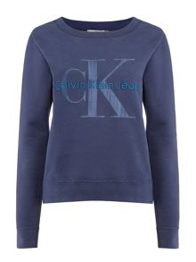 Calvin Klein Long sleeve crew neck jersery top in navy