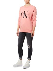 Calvin Klein long sleeve crew neck jersey top in mauveglow