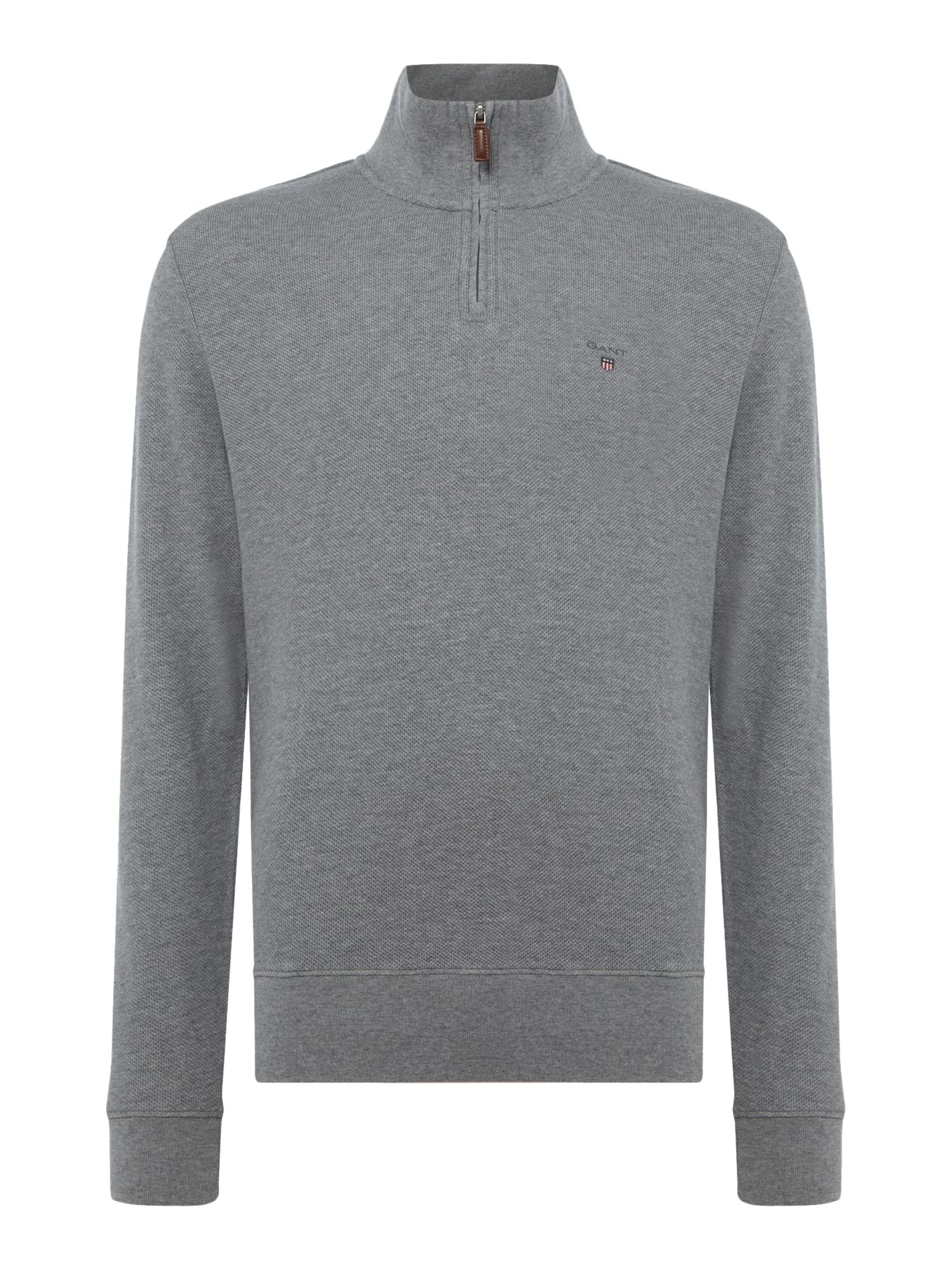 Men's Gant Honey-Comb Half-Zip Sweatshirt, Grey
