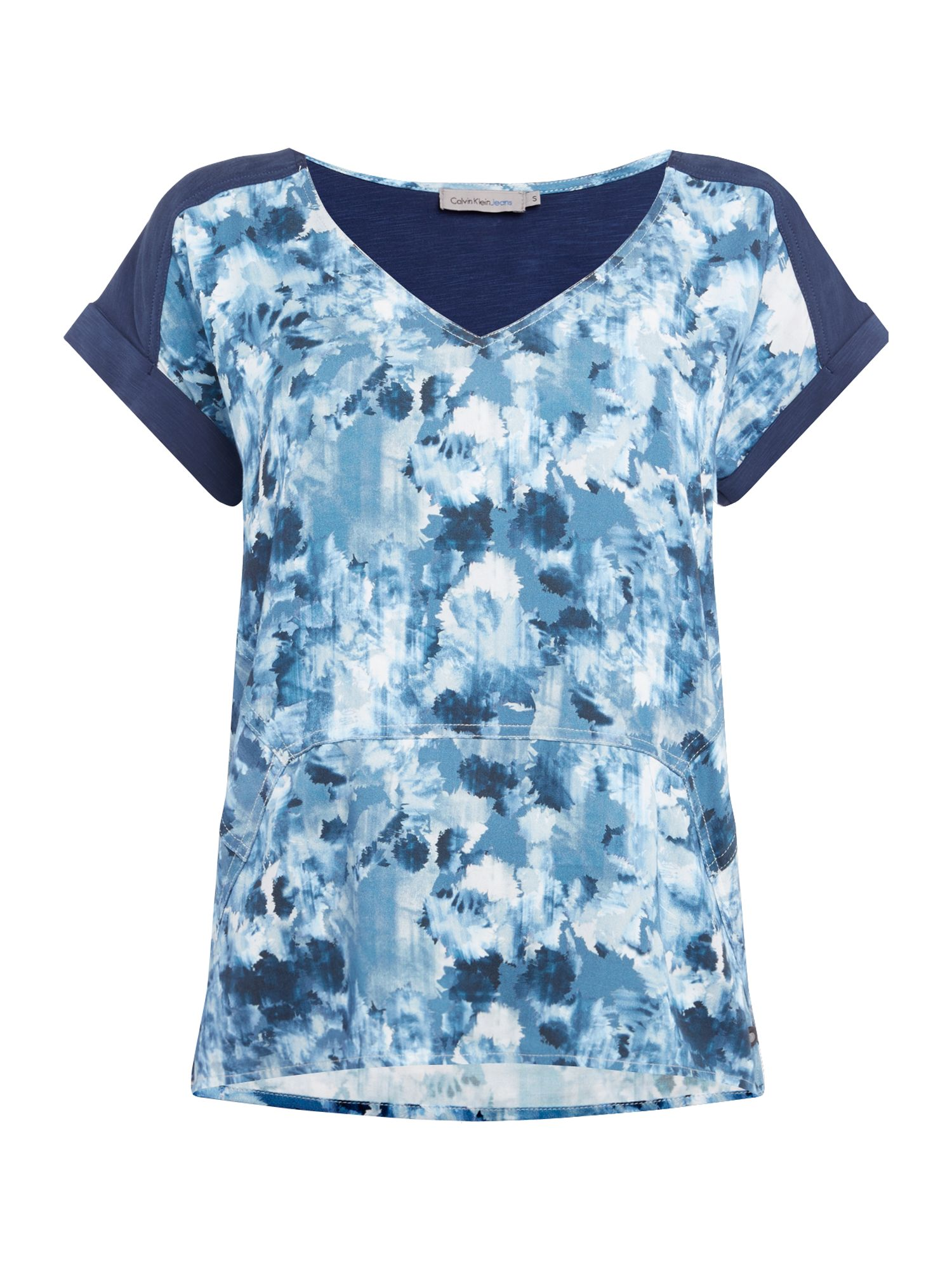 Calvin Klein Casual woven top in indigo flower aop, Blue
