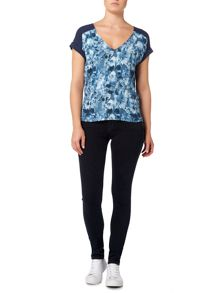 Calvin Klein Casual woven top in indigo flower aop