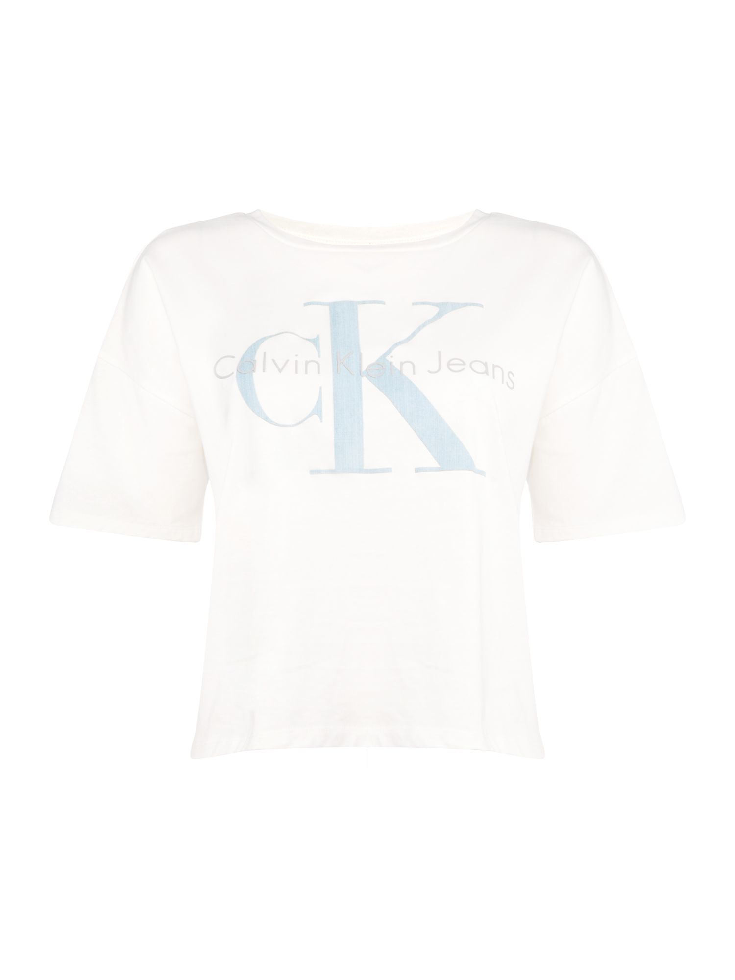 Calvin Klein Short sleeve cropped jersey top in cloud dancer, White