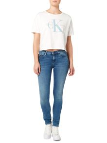 Calvin Klein Short sleeve cropped jersey top in cloud dancer