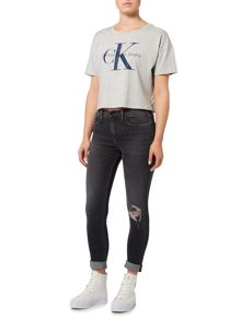 Calvin Klein Cropped tee jersey top in light grey heather
