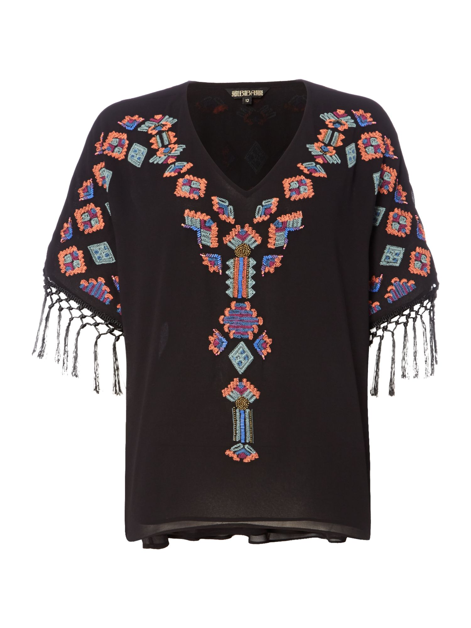 Biba Embellished v neck fringed blouse, Black