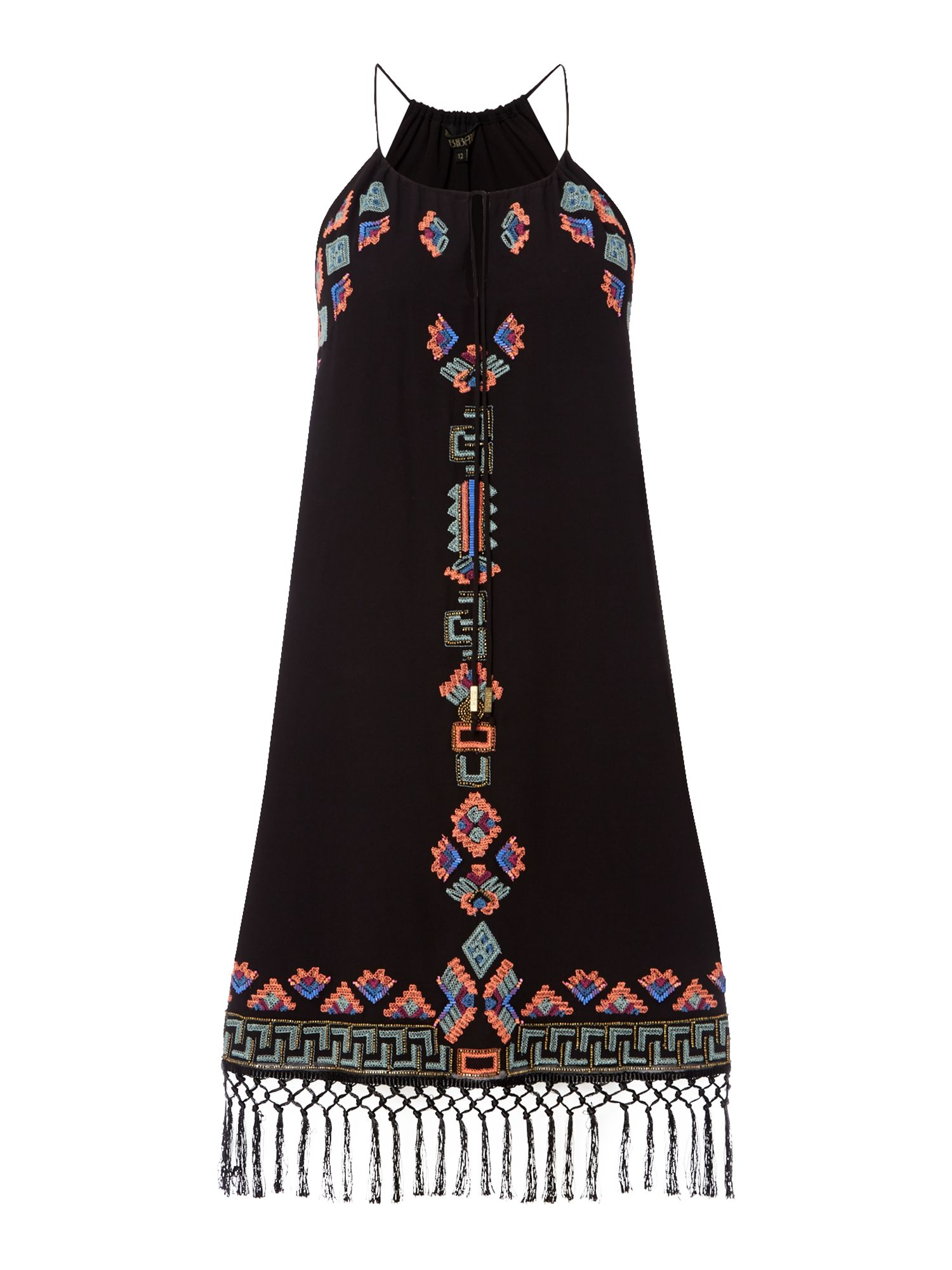 Biba Embellished halter neck tassel dress, Black