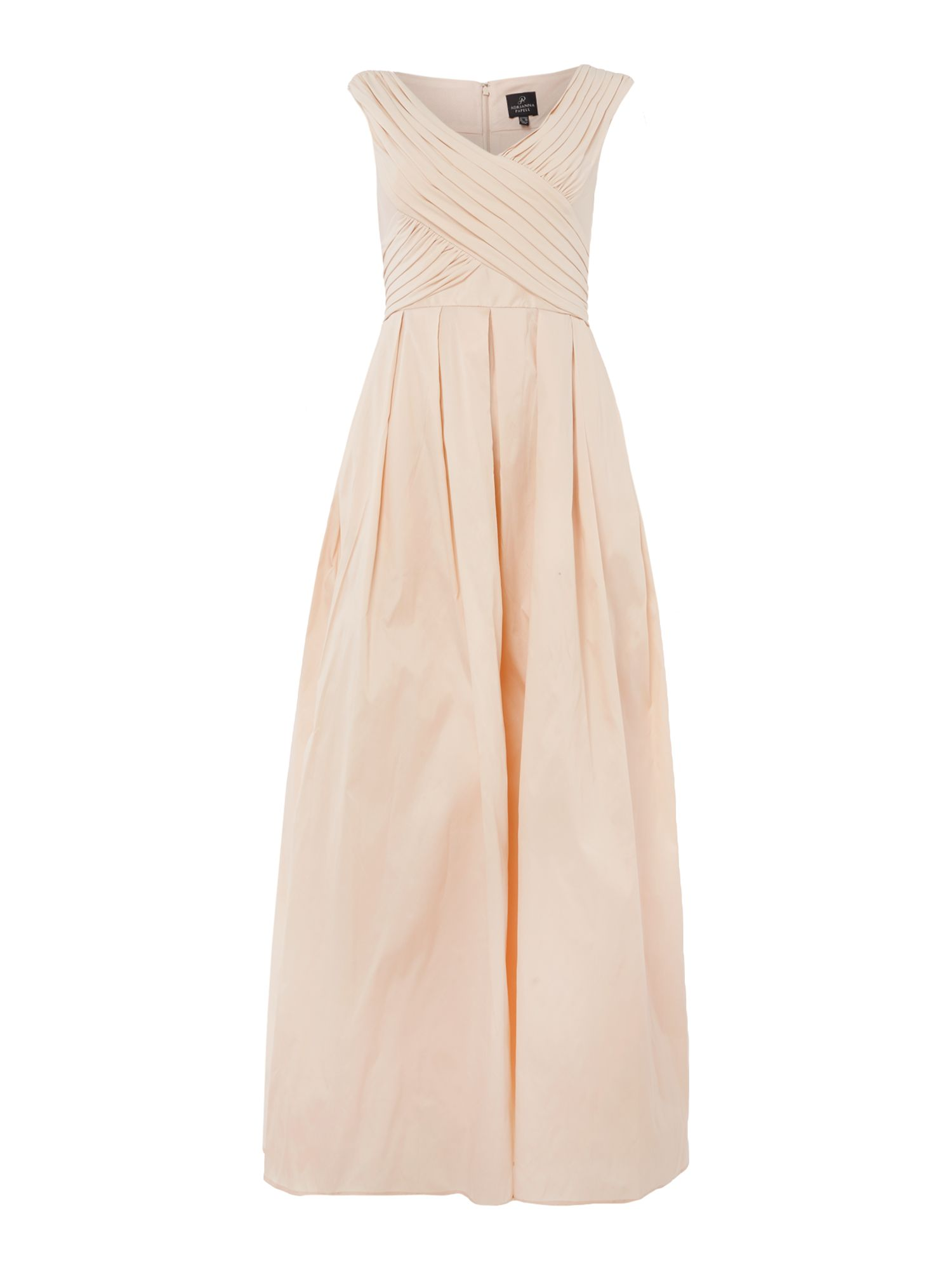 Adrianna Papell Jersey top rouched gown, Nude