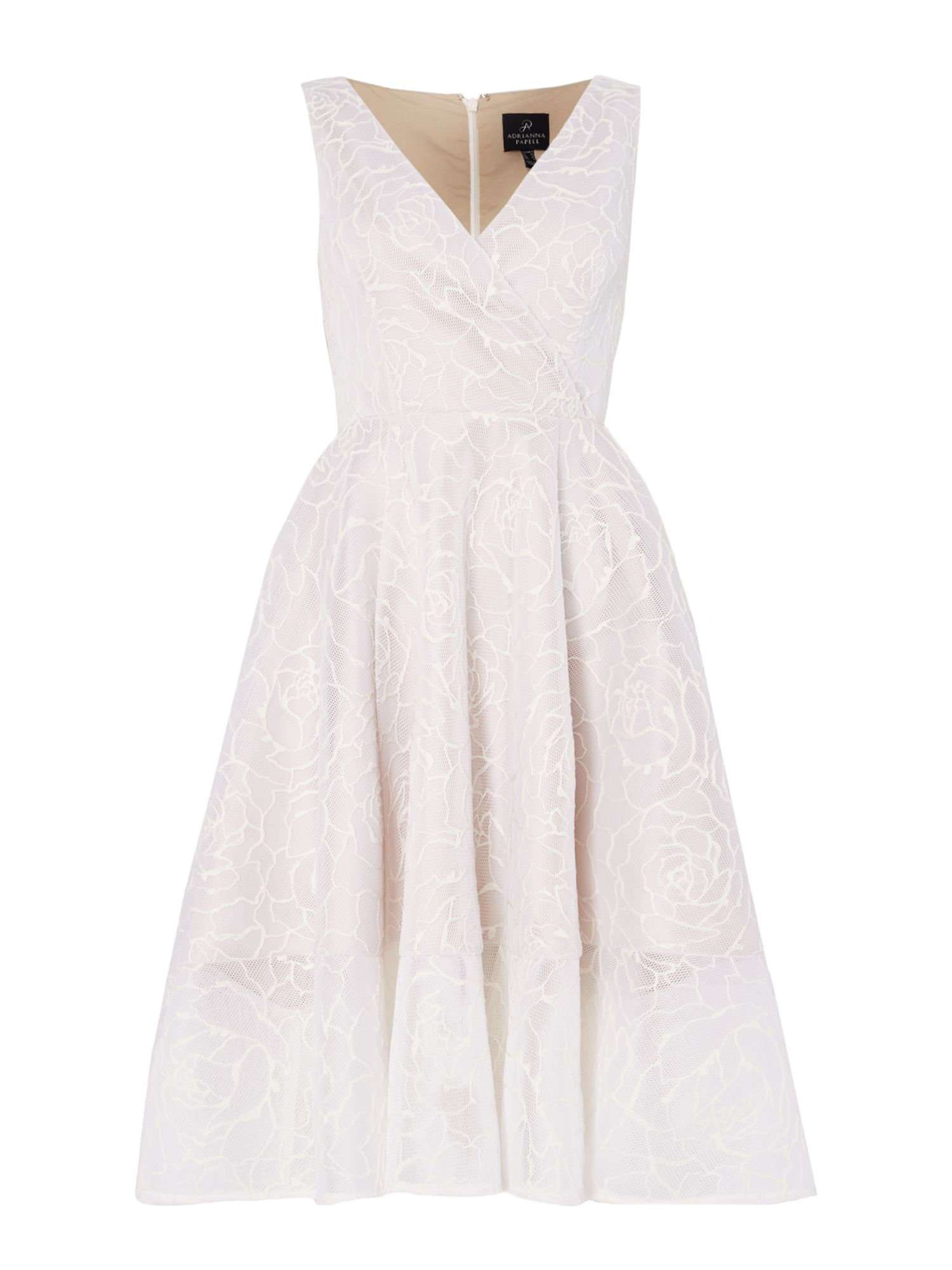 Adrianna Papell Sleevless v neck lace dress, White