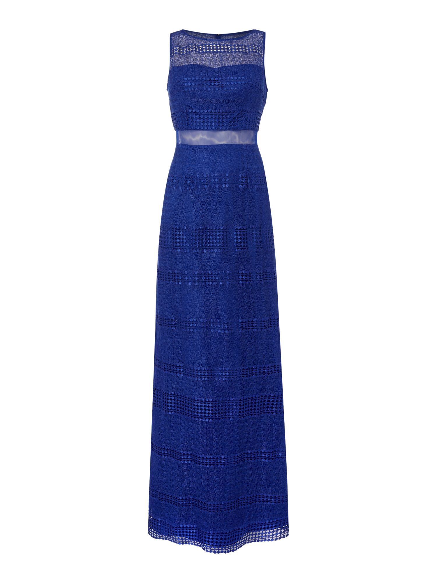 Adrianna Papell Sleeveless Lace Navy Gown, Blue