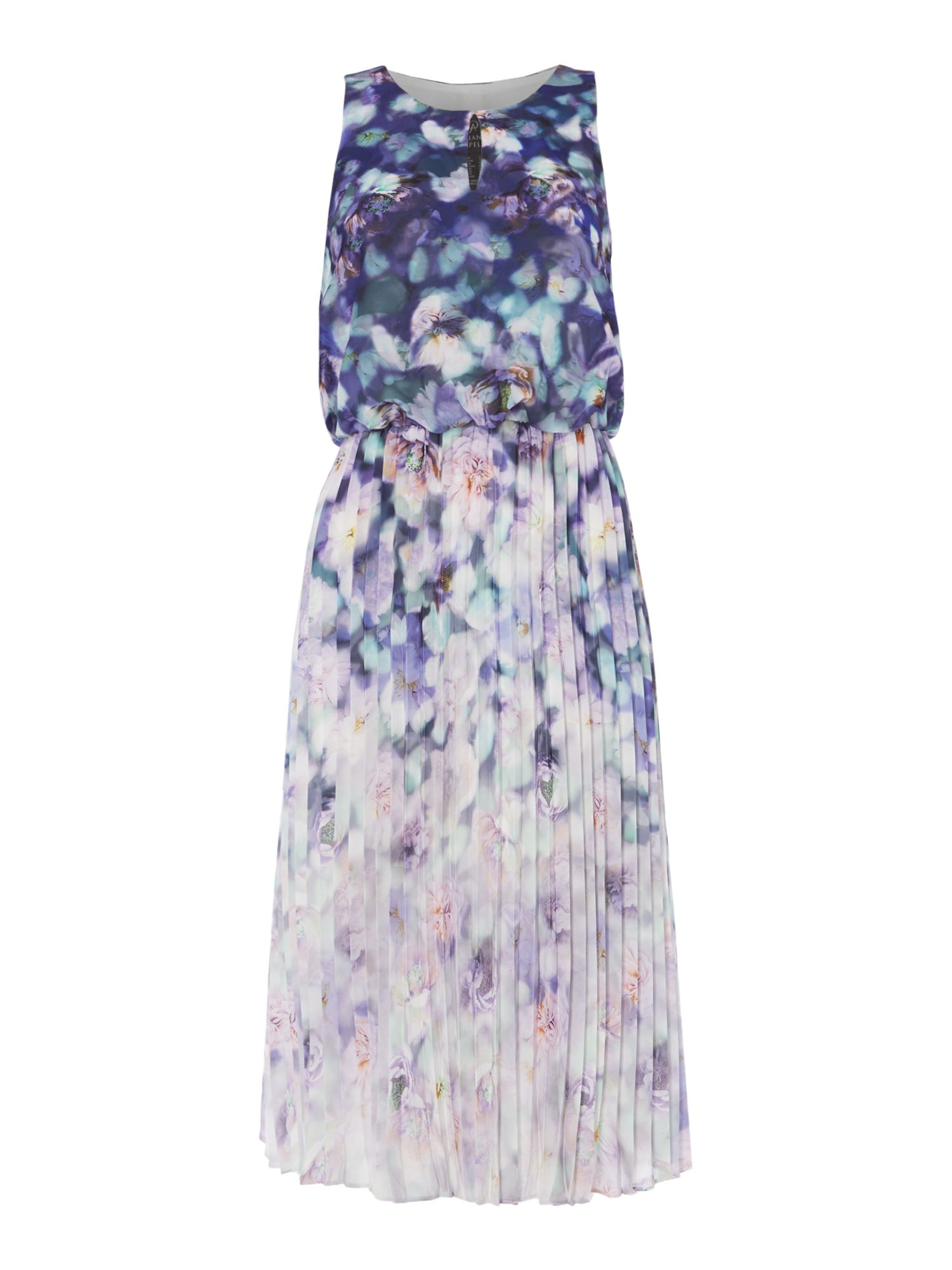 Adrianna Papell Sleeveless v neck printed dress with pleating, Purple