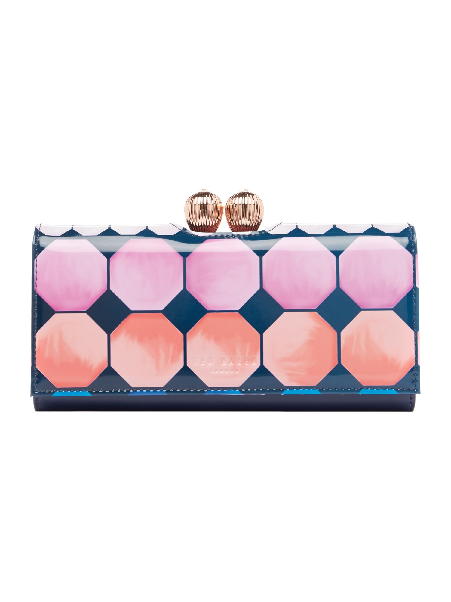 Ted Baker Destiny large mosaic flapover purse Navy