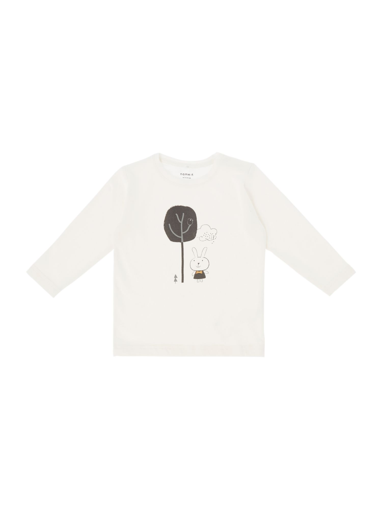 Name it name it Girls Graphic Bunny Long Sleeve T-Shirt, Cream