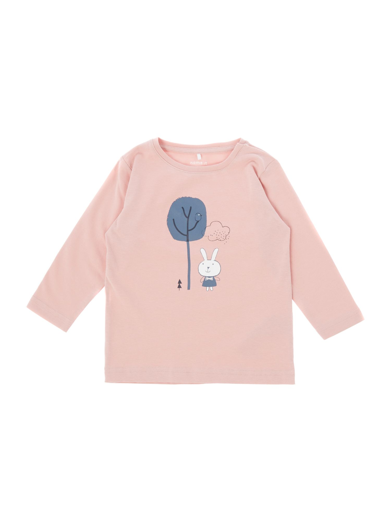 Name it name it Girls Graphic Bunny Long Sleeve T-Shirt, Light Pink