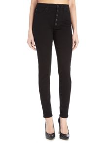Hudson Jeans Ciara highrise exposed button jeans in black