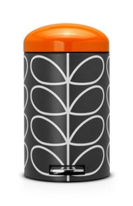 Brabantia Orla Kiely Retro Pedal Bin, 12 Litre, Orange/Grey