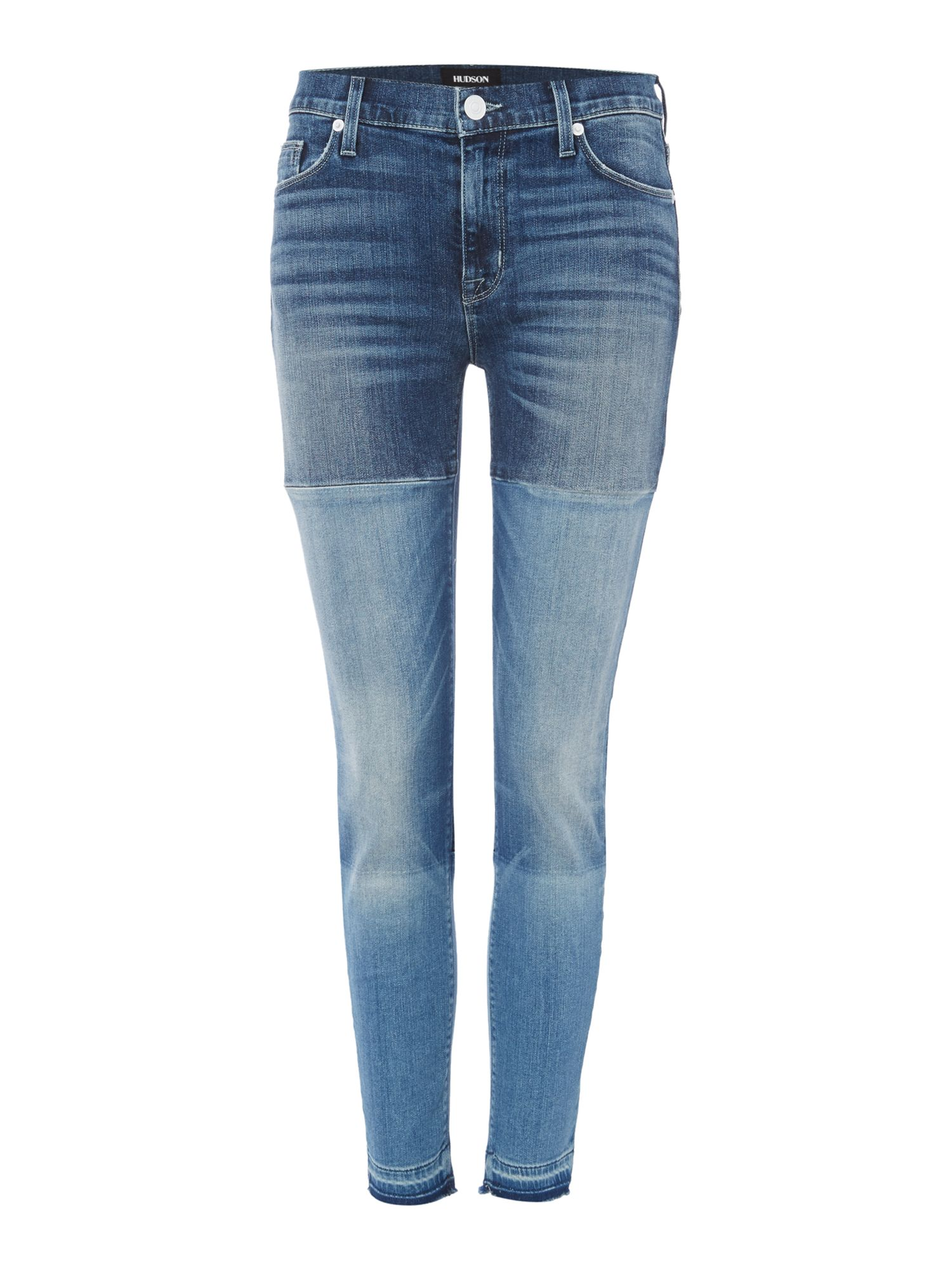 Hudson Jeans Isla midrise crop patch jeans in high marks Denim Mid Wash